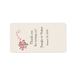 Red Heart Tree on Ivory Lip Balm Label Address Label