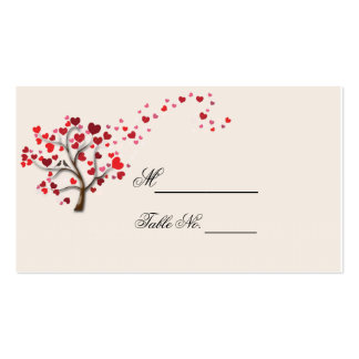 Red Heart Tree on Ivory Wedding Place Card Pack Of Standard Business Cards