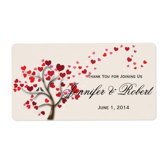 Red Heart Tree on Ivory Wedding Water Bottle Label Shipping Label