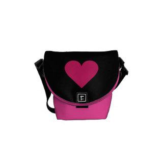 Red Heart Valentine custom messenger bag