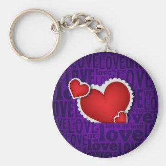 Red heart valentine s day basic round button key ring
