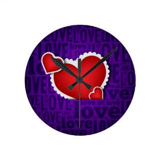 Red heart valentine s day clocks