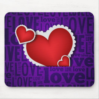 Red heart valentine s day mouse pads