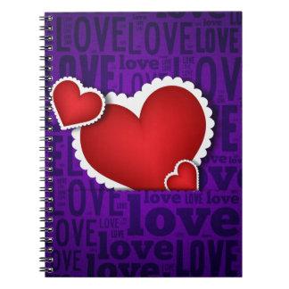 Red heart valentine s day spiral notebook