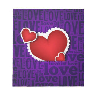 Red heart valentine s day note pads