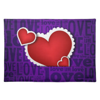 Red heart valentine s day placemats