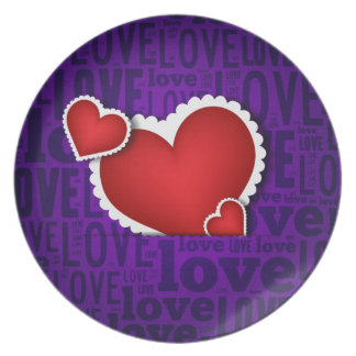 Red heart valentine s day plates
