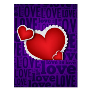 Red heart valentine s day post card