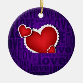 Red heart valentine s day round ceramic decoration