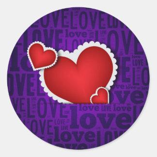 Red heart valentine s day round sticker