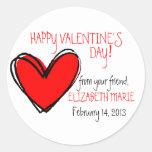 Red Heart-Valentine's Day Round Stickers