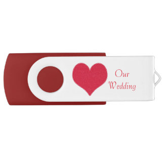 Red Heart Wedding USB Drive Swivel USB 2.0 Flash Drive