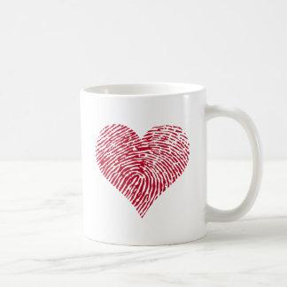 Red heart with fingerprint pattern coffee mug