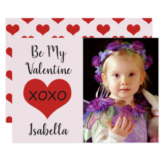 "Red heart xoxo photo ""Be My Valentine."" Card"