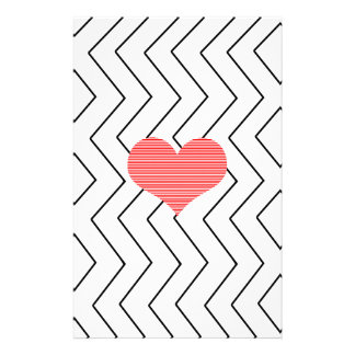 Red heart - Zigzag geometric pattern - black. Stationery