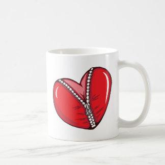 Red Heart Zipper Love Hearts Coffee Mugs