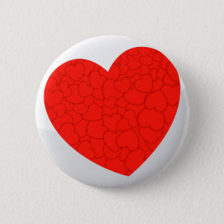 Red hearts 6 cm round badge