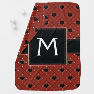 Red Hearts And Dots Plaid Pattern With Initial Baby Blanket