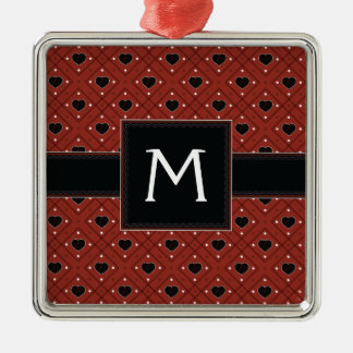 Red Hearts And Dots Plaid Pattern With Initial Metal Ornament