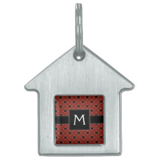 Red Hearts And Dots Plaid Pattern With Initial Pet ID Tag