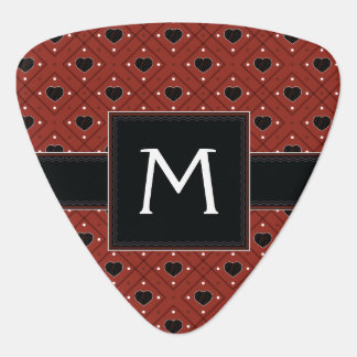 Red Hearts And Dots Plaid Pattern With Initial Plectrum