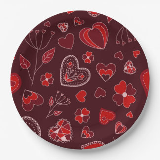 Red hearts and flowers Custom Paper Plates