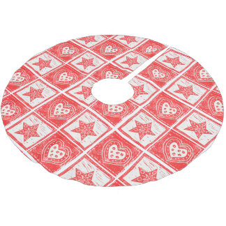 Red Hearts and Stars Brushed Polyester Tree Skirt