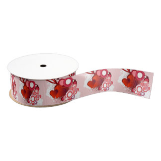 "Red Hearts and White Circles 1.5"" Grosgrain Ribbon"
