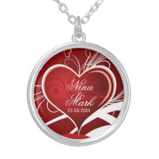 Red Hearts and White Swirls - Save the date Silver Plated Necklace