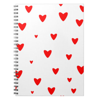 Red Hearts Background Notebook
