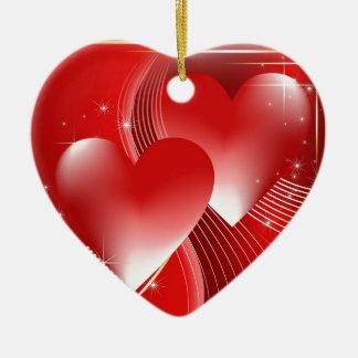 Red Hearts Ceramic Ornament