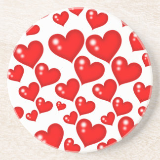 Red Hearts Drink Coaster
