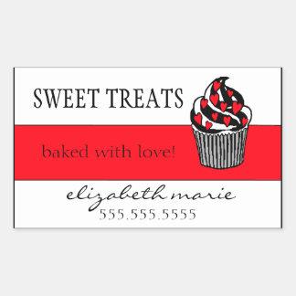 Red Hearts Cupcake Rectangular Sticker