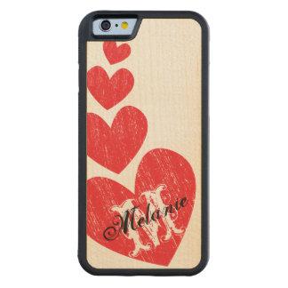 Red Hearts - Custom Monogram Wood Phone Case