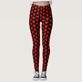 Red Hearts Design All-Over Print Leggings