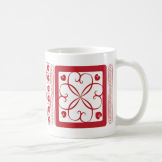 Red hearts everywhere basic white mug