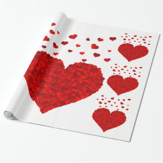 Red Hearts Glossy Wrapping Paper