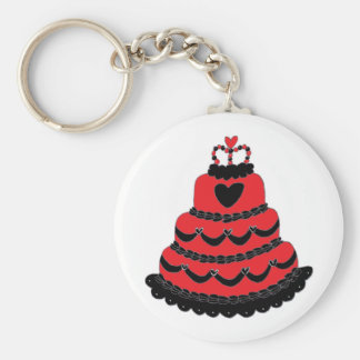 Red Hearts Gothic Cake Basic Round Button Key Ring