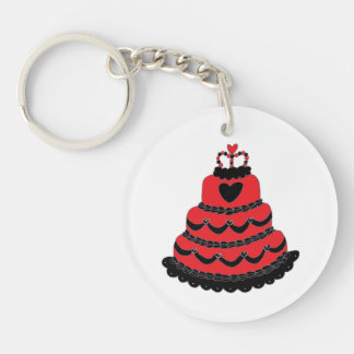 Red Hearts Gothic Cake Double-Sided Round Acrylic Key Ring