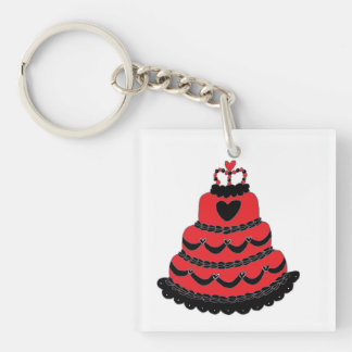 Red Hearts Gothic Cake Double-Sided Square Acrylic Key Ring