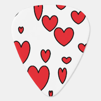 Red Hearts Guitar Pick