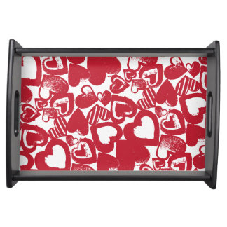 Red Hearts Hand-drawn Pattern Serving Platters