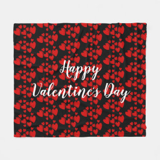Red Hearts Happy Valentine's Day Fleece Blanket