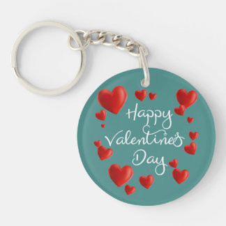 Red Hearts Happy Valentine's Day Keychain