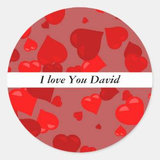 Red Hearts I love You David Round Sticker