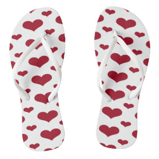 Red Hearts in a Row Pattern Flip Flops Thongs