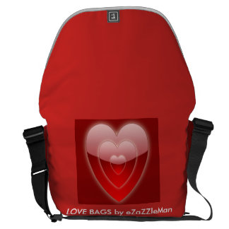 RED HEARTS LOVE BAGS by eZaZZleMan Messenger Bags