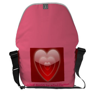 RED HEARTS LOVE PINK CUSTOMIZABLE BAGS eZaZZleMan Messenger Bag