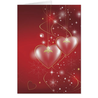 Red Hearts love relationships wallpaper background Card