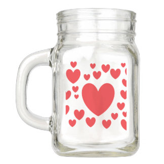 Red Hearts Mason Jar